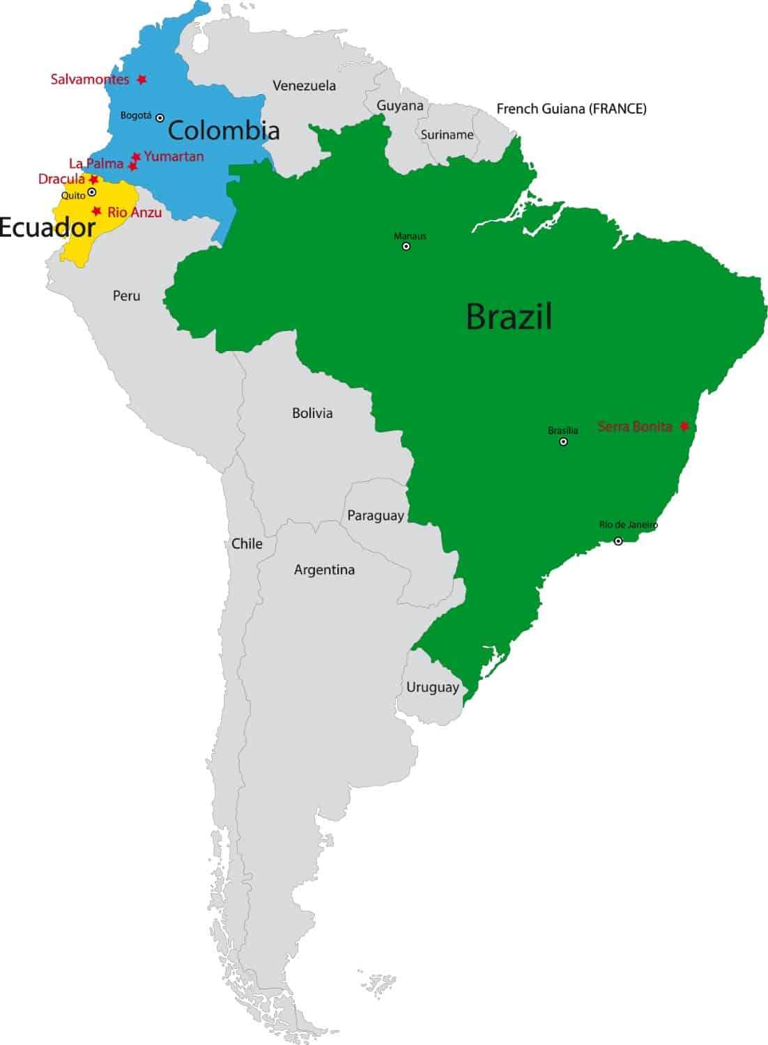 Map with all OCA reserves in South America